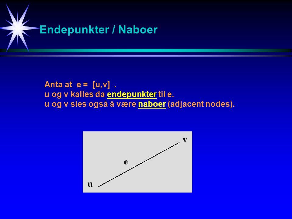 Endepunkter / Naboer Anta at e = [u,v] .